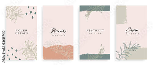 Obraz Social media stories and post creative Vector set. Background template with copy space for text and images Design byabstract colored shapes,  line arts , Tropical leaves  warm color of the earth tone - fototapety do salonu