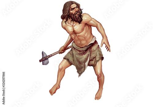 Fototapeta Full Color Realistic Illustration of Neanderthal Holding Stone Axe