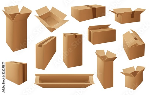 Cardboard or carton boxes, package vector isolated objects Fotobehang