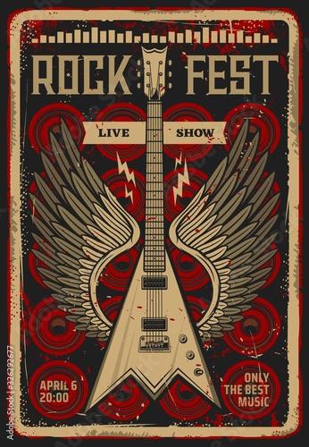 Obraz na plátne Rock festival music concert retro poster