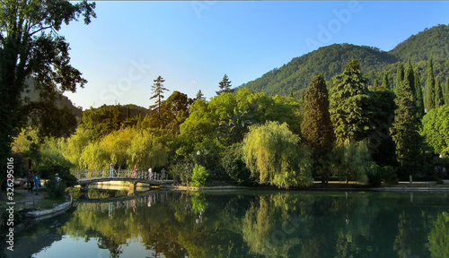 Lake in a Park with mountains Wallpaper Mural