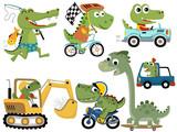 Fototapeta Dinusie - set of cute green monsters cartoon in various activities