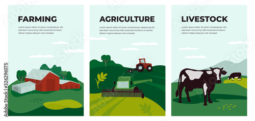 Fototapeta Vector illustrations of agriculture, farming and livestock. Posters with farmland landscape, tractor plows on field, agricultural building, cow in pasture. Template for banner, flyer, cover, brochure. obraz
