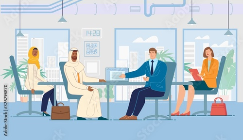 Fototapety, obrazy: Business Meeting with Foreign Partner, International Investment Project, Concept. Company Ceo Discussing Contract Details, Presenting Idea to Arabian Businessman Trendy Flat Vector Illustration