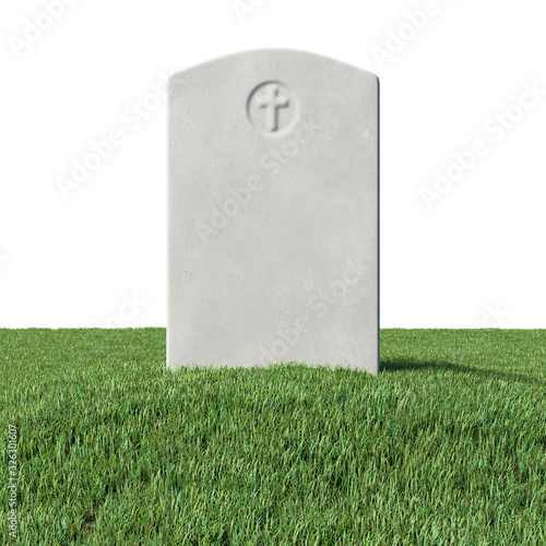 Gray blank gravestone on green grass isolated Canvas Print