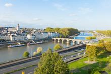 "Panoramic View From The Castle, Angers, Maine-et-Loire, France. Beautiful Daylight Shot Of The ""Pont De Verdun"" (Verdun Bridge), The Maine River, Etc... Cute Medieval French City."