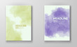 Set of cards with watercolor blots. Set of cards with hand drawn