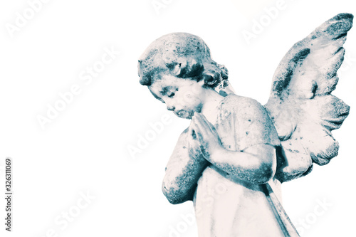 Slika na platnu Angel cherub stone statue memorial grave headstone isolated on a white background