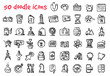 vector doodle icons set for web design