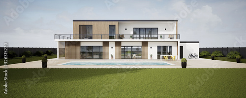 Fotografiet Perspective 3d grande villa avec piscine 06
