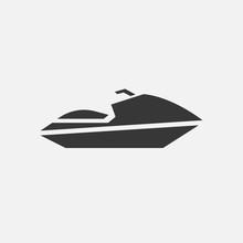 Jet Ski Boat Vector Icon Sports