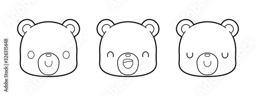 Set of cute bear cartoon outline drawing for children's coloring book. Kawaii vector illustration.