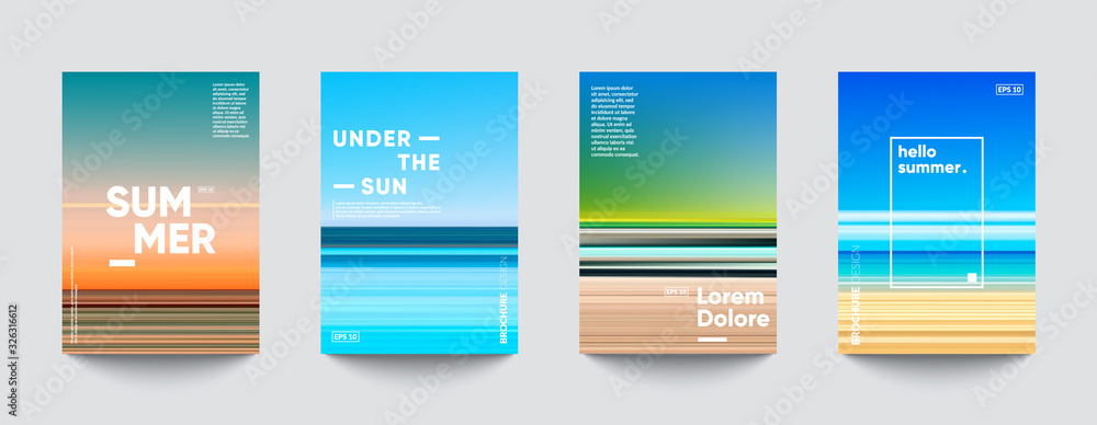 Fototapeta Summer backgrounds set. Creative gradients in summer colors. Ocean horizon, beach and sunsets.