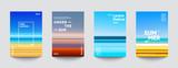 Zestaw letnich tła. Kreatywne gradienty w letnich kolorach. Oceaniczny horyzont, plaża i zachody słońca.