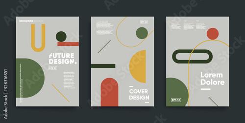 Fotografia Bauhaus design covers set. Minimal geometric backgrounds.