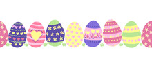 Seamless Border Easter Eggs. C...