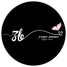 Initial ZB Logo Handwriting Vector Butterfly Illustration