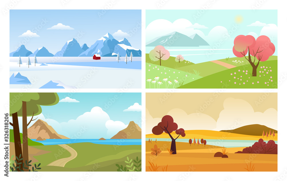 Fototapeta four seasons backgrounds. summer winter autumn spring nature landscape with trees leaves grass and snow mountain. vector
