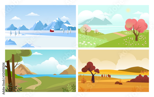 Fototapeta four seasons backgrounds. summer winter autumn spring nature landscape with trees leaves grass and snow mountain. vector obraz