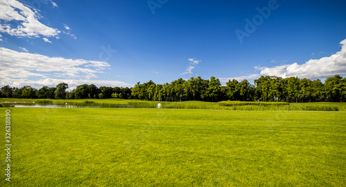 Golf Course (field) with beautiful putting green and scenery in Mezhyhirya Park Canvas Print