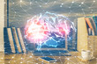 Multi exposure of work table with computer and brain hologram. Brainstorm concept.