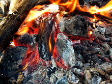 Fire, Wood, Ashes And Flames C...