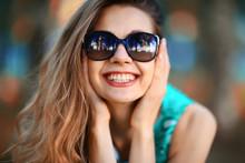 Cheerful Blonde In Sunglasses ...