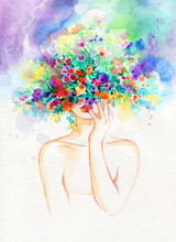 Woman With Flowers. Beauty Bac...