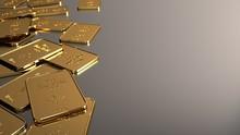 A 1Oz Gold Bars Of A Bank. 3d ...