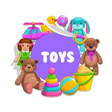 Boy And Girl Kids Toys, Vector...