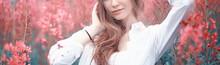 Pink Flowers Hairgirl Model / ...