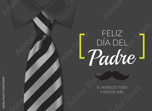 Fototapeta Tarjeta del día del padre con texto caligráfico, corbata en blancos y negros y camisa negra. obraz na płótnie