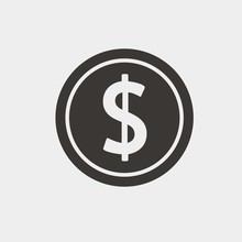 Coin Dollar Sign Icon Vector Illustration And Symbol For Website And Graphic Design