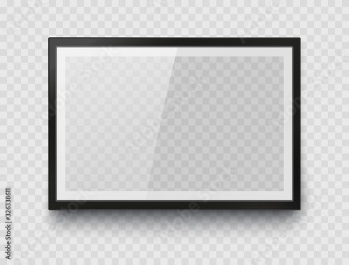 Fototapeta Frame mockup template isolated on transparent wall background. Realistic blank horizontal picture or photograph border. Vector glass black photoframe for interior artwork design.. obraz