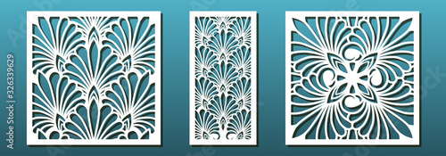 Fototapeta Laser cut pamels template, vector set. Abstract geometric pattern. Stencils, die for metal cutting, paper art, fretwork, wood carving, card background, wall panel design. obraz