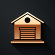 Gold Warehouse icon isolated on black background. Long shadow style. Vector Illustration