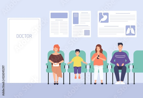 Obraz Smiling cartoon people sitting on chairs waiting doctor appointment at hospital vector flat illustration. Man, woman and child at modern clinic. Colorful visitors at physician office - fototapety do salonu