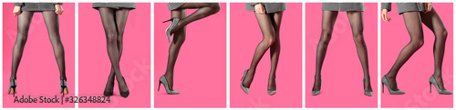 Obraz Collage of women wearing tights on pink background, closeup of legs. Banner design - fototapety do salonu