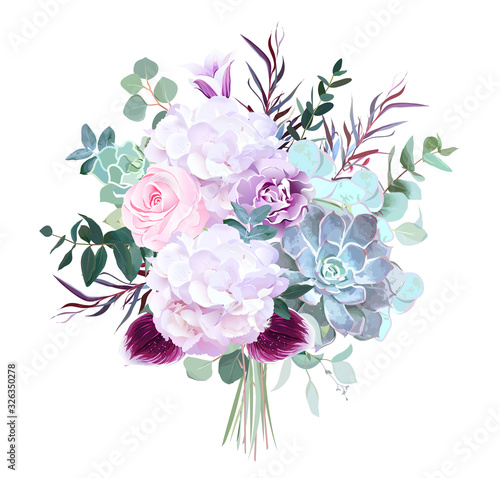 Photo Pink rose, white hydrangea, purple carnation, dark orchid, succulents, violet be