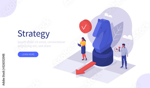People Characters Planning Strategy for Business. Businessman and Businesswoman Moving Horse Chess Figure at Chessboard. Teamwork and Business Success Concept. Flat Isometric Vector Illustration.