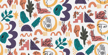 Hand Drawn Modern Illustration With Fashionable Portrait, Woman Body, Hand And Eye, Various Shapes And Doodle Objects. Abstract Modern Trendy Vector Seamless Pattern. Retro, Pin-up Repeating Texture.