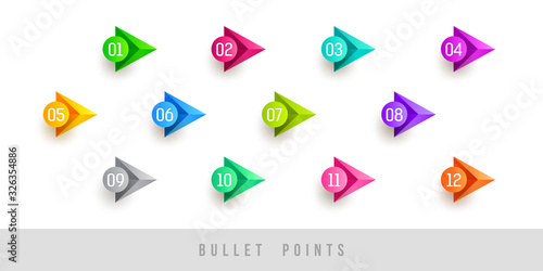 Photo Colorful bullet points - numbered from one to twelve