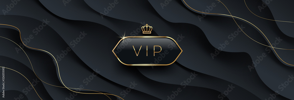 Fototapeta Vip black glass label with golden crown and frame on a black abstract layered  background. Premium design. Luxury template design. Vector illustration. Can be used for invitation, greeting, ticket.