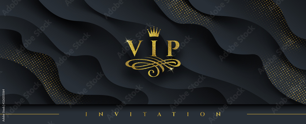 Fototapeta VIP invitation template - Glitter gold logo with crown and flourishes element  on abstract layered black background. Vector illustration. Can be used for invitation, greeting, ticket, flyer and etc.