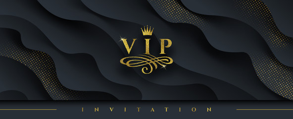 VIP invitation template - Glitter gold logo with crown and flourishes element  on abstract layered black background. Vector illustration. Can be used for invitation, greeting, ticket, flyer and etc.