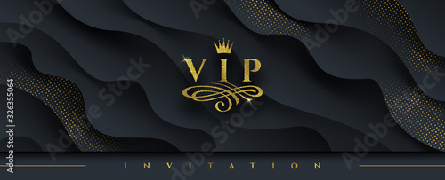 Cuadros en Lienzo VIP invitation template - Glitter gold logo with crown and flourishes element  on abstract layered black background