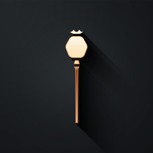 Gold Opium Poppy Icon Isolated On Black Background. Long Shadow Style. Vector Illustration