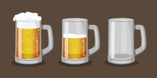Three Mugs Of Beer With One Fu...