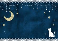 猫と月と星のレースフ...