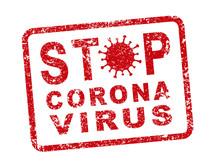 STOP MERS Corona Virus Warning Icon Shape. Biological Hazard Risk Logo Symbol. Vector Illustration Image. Isolated On White Background. China, Wuhan Disease. Grunge Stamp